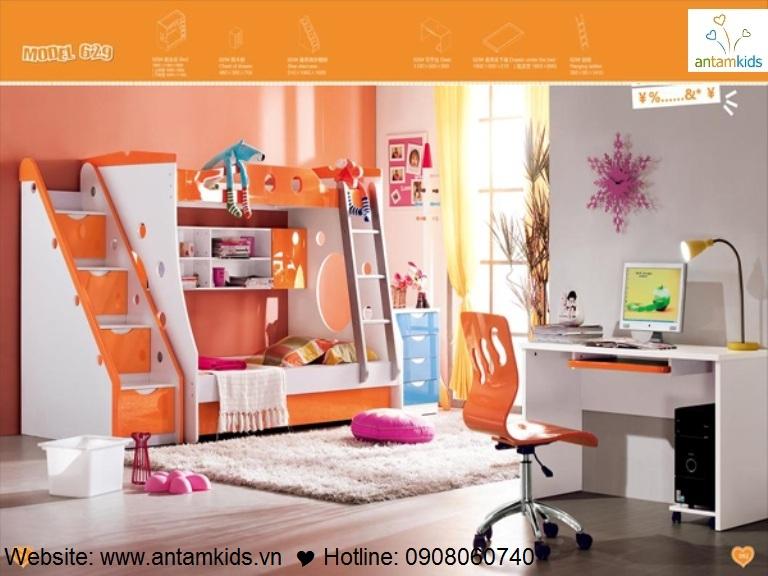Giường 3 tầng trẻ em KH629 - GIÁ ưu đãi TỐT NHẤT thị trường   ANTAMKIDS.VN