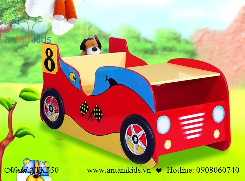 Giường mô hình ôtô ATK350 màu đỏ cho con trai
