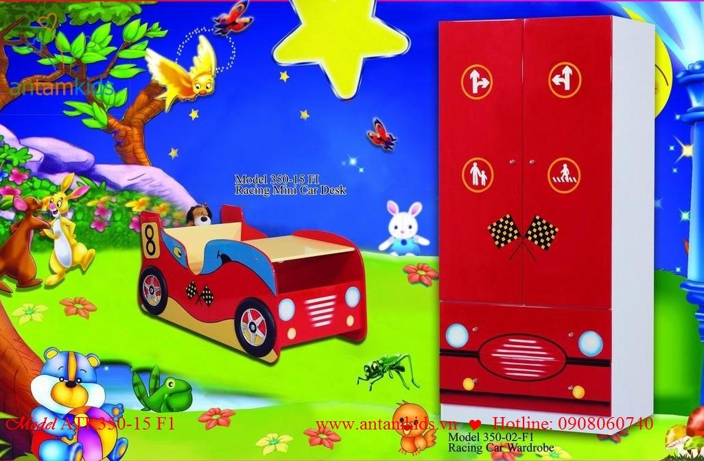 Giường tủ mô hình ôtô ATK350 màu đỏ cho con trai
