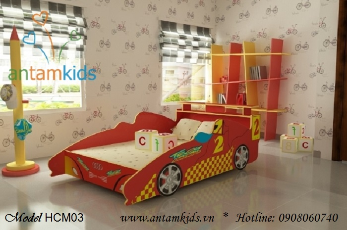 Giường mô hình xe hơi màu đỏ cá tính sành điệu cho bé trai - Giá tiền: 4,000,000 VNĐ - AnTamKids.vn