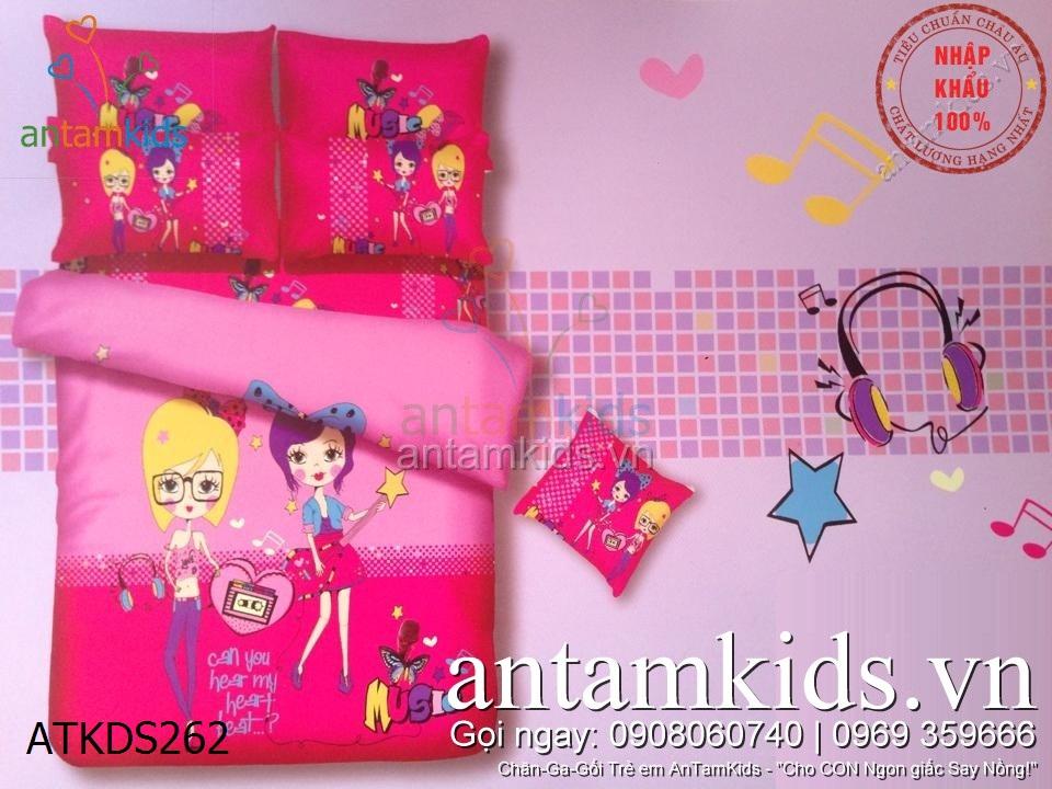 Bộ Drap mền chăn ga gối trẻ em Lovely Girl Music sắc hồng cho bé gái