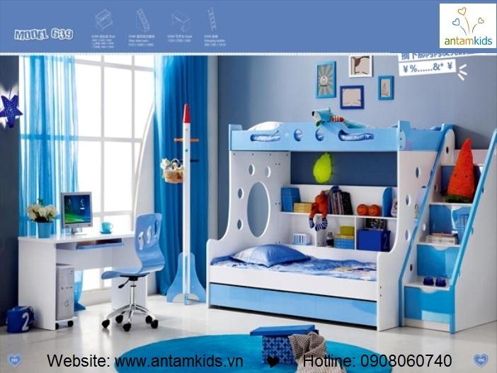 Giường 3 tầng trẻ em KH639 - GIÁ ưu đãi TỐT NHẤT thị trường | ANTAMKIDS.VN