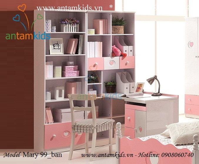 Bàn học gia sach Mary 99 màu hồng cho bé gái rất đáng yêu Tomy Niki nhap khau - AnTamKids.vn