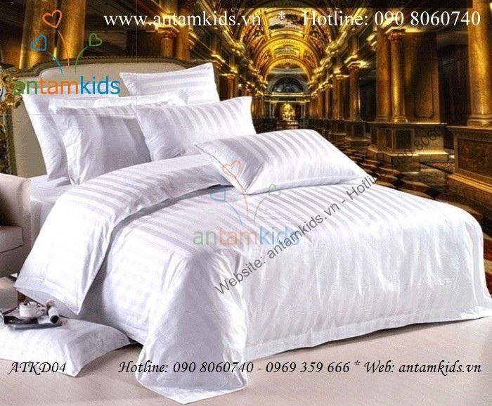 Chăn ga khách sạn, drap men goi ke khach san trang sang trong - AnTamKids.vn