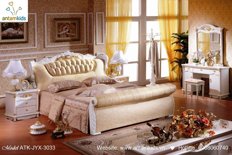 Phòng ngủ cổ điển ATK-JYX-3031 đẹp & sang trọng   Noi That Phong Ngu AnTamKids, noi that phong cach co dien chau au, đồ gỗ cổ điển