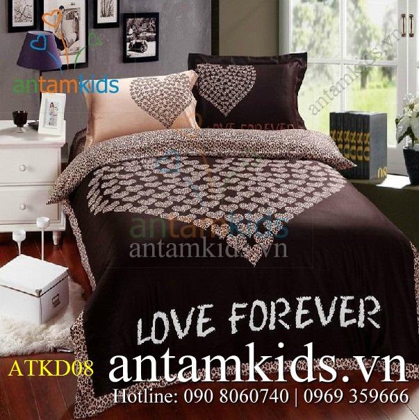 Bộ chăn ga gối Love Forever màu chocolat ATKD08 Yêu mãi Mãi yêu