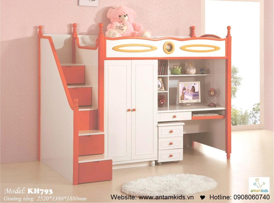 Giường tầng trẻ em KH793 các bé mê tít | Noi That Tre Em AnTamKids