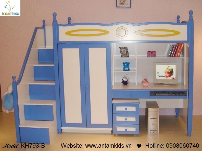 Giường tầng trẻ em KH793-B màu xanh cực đẹp | Noi That Tre Em AnTamKids