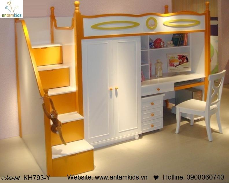 Giường tầng trẻ em KH793-Y màu vàng đẹp thiên thần | Noi That Tre Em AnTamKids