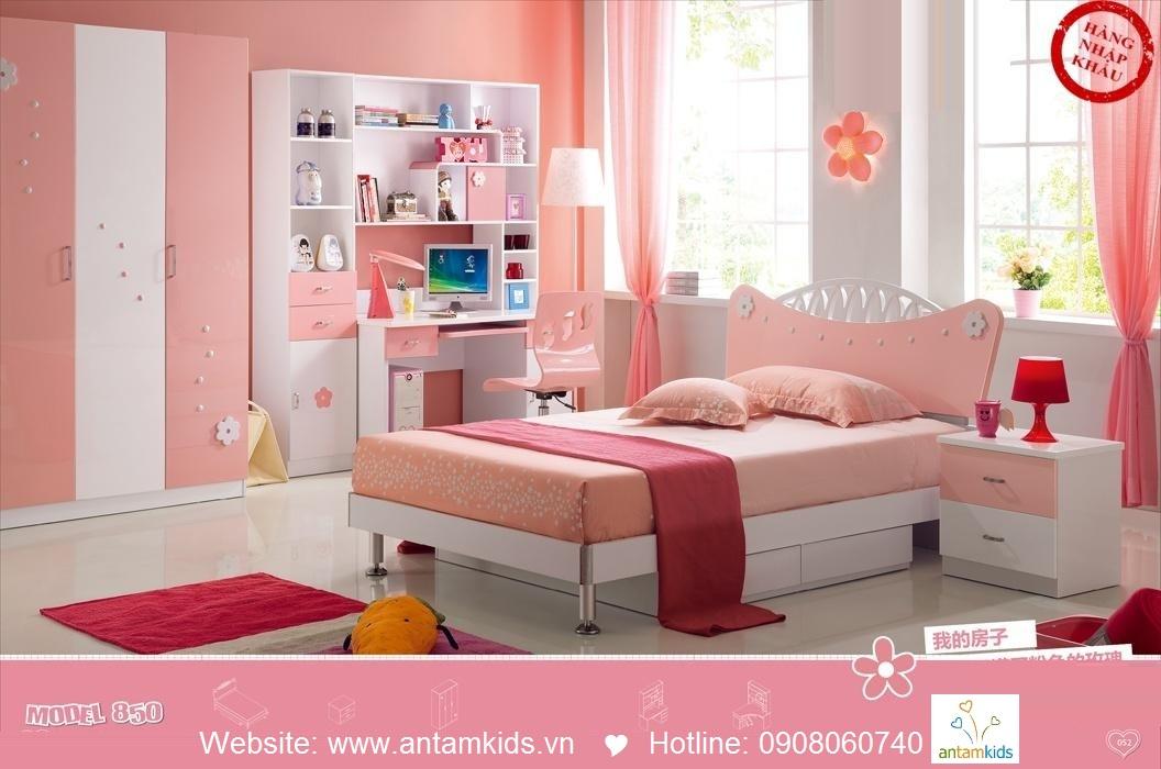 Phòng ngủ trẻ em H850, bàn học giá sách trẻ em AnTamKids