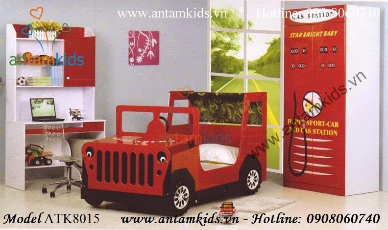 Giường xe Ô tô JEEP cho bé trai, Giường ngủ trẻ em hình ô tô sành điệu