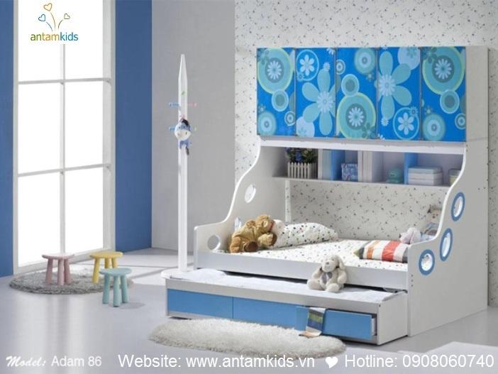 Giường tầng cho bé Adam 86 - GIÁ ưu đãi TỐT NHẤT thị trường | ANTAMKIDS.VN, giuong 2 tang keo xinh dep