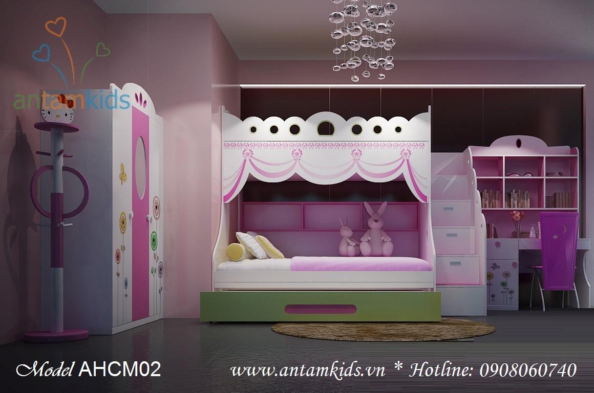 Phong ngu cong chua 3 tang, phòng ngu công chúa màu hồng cho bé gái - AnTamKids.vn