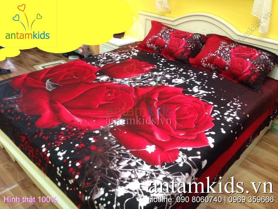 Bộ chăn ga gối ATK2208 hoa hồng đỏ 3D