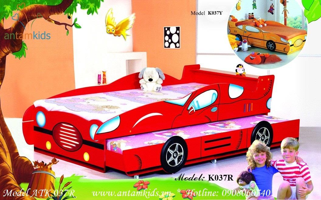 Giường ôtô 2 tầng kéo ATK037R màu đỏ cực kute bé trai mê tít