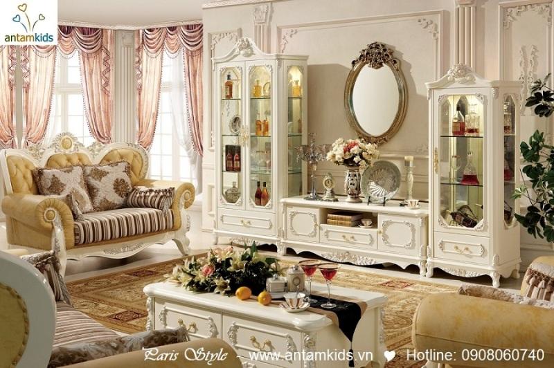 Nội thất phòng khách cổ điển Pháp, Ke tivi co dien chau au cao cap nhap khau - AnTamKids.vn