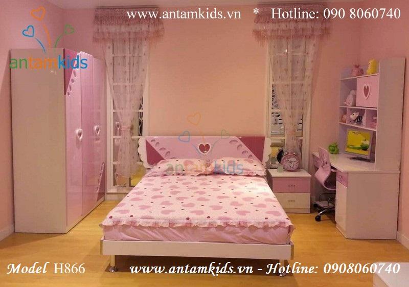 Bộ phòng ngủ Trái tim hồng cho bé H866