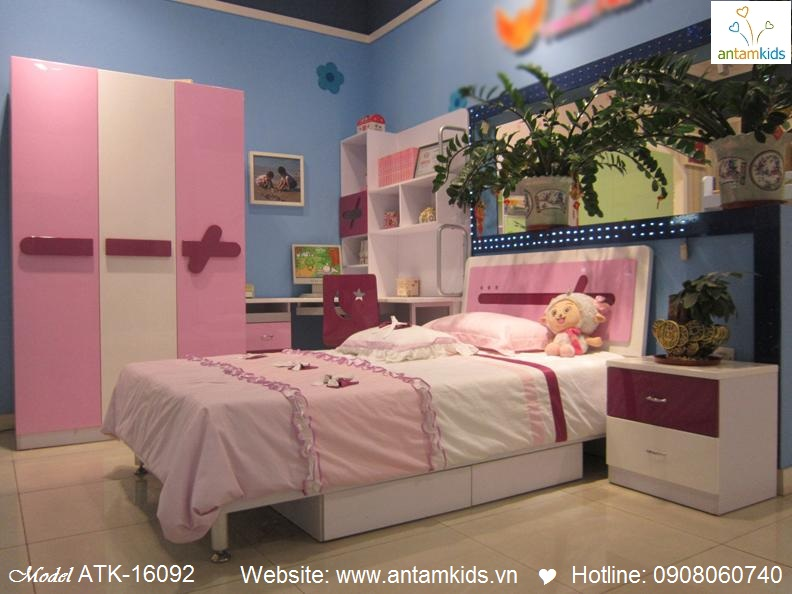 Phòng ngủ cho bé ATK-16092 xinh yêu màu hồng  Noi That Tre Em – AnTamKids