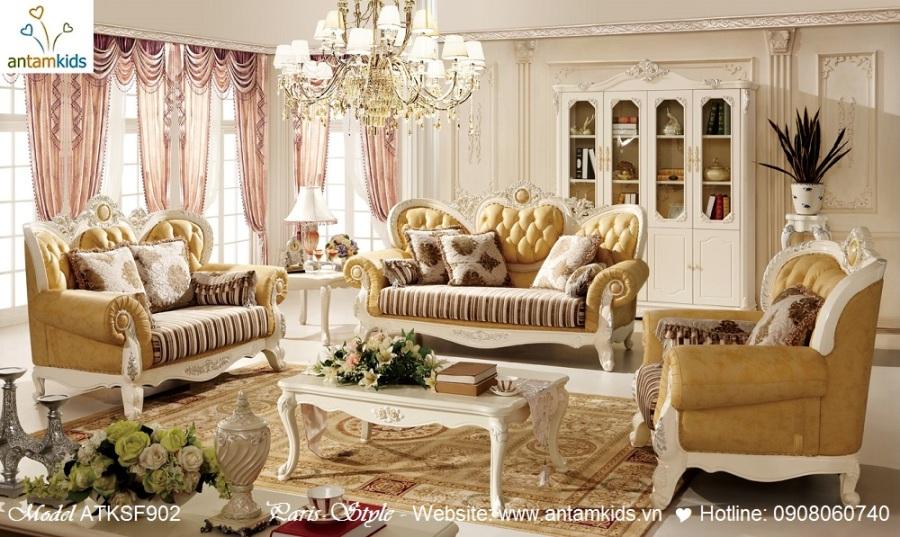 Nội thất phòng khách cổ điển Pháp, phong ngu co dien chau au cao cap nhap khau - AnTamKids.vn