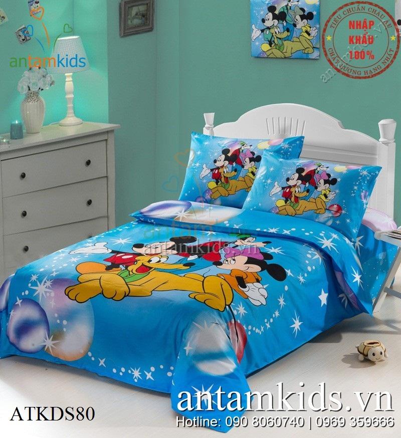 Chăn ga gối đệm Mickey màu xanh siêu xinh dành cho bé trai bé gái