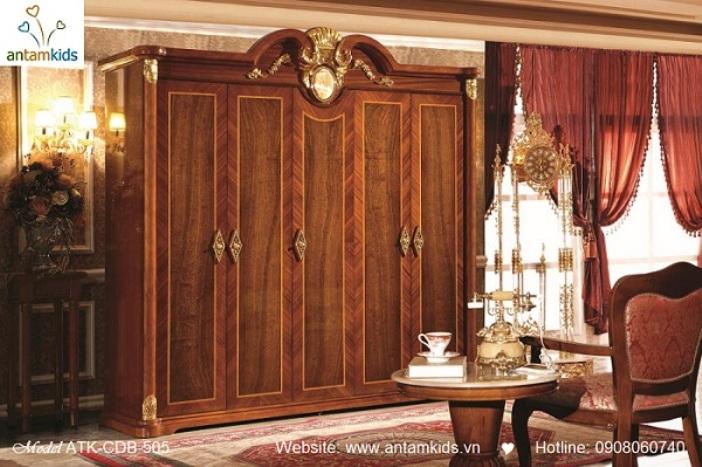 Nội thất cổ điển ATK-CDB-509, tủ áo cổ điển, phòng ngủ cổ điển