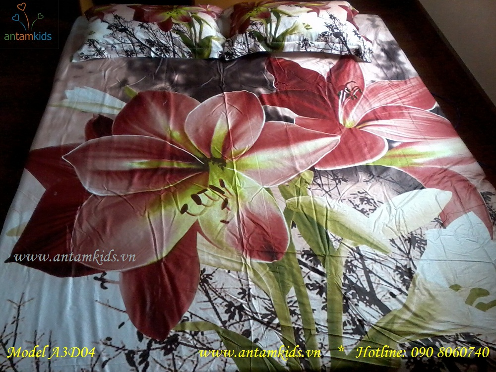 Chăn ga gối 3D Hoa ly đỏ tía A3D04 đẹp quyến rũ phong cách Hàn Quốc đầy Đam Mê chỉ có tại AnTamKids