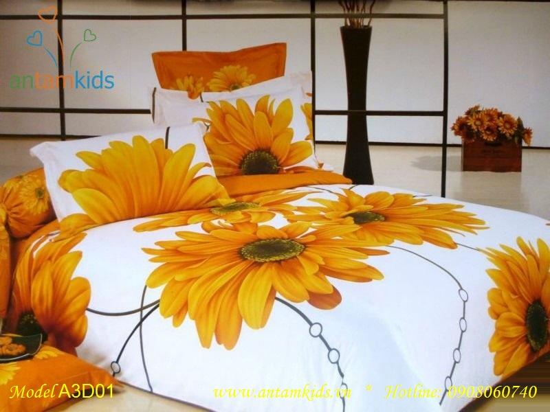 Chăn drap 3D HOA HƯỚNG DƯƠNG rực rỡ nắng vàng
