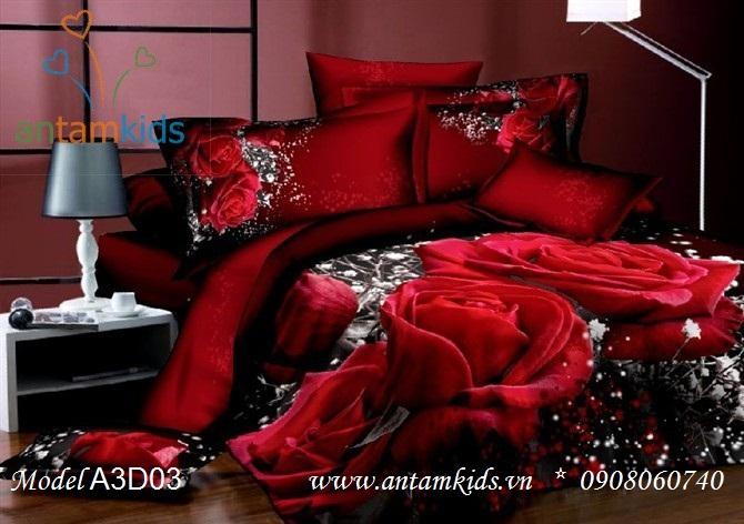 Chăn ga gối 3D Hoa Hồng Đỏ đen Đẹp kinh điển lãng mạn