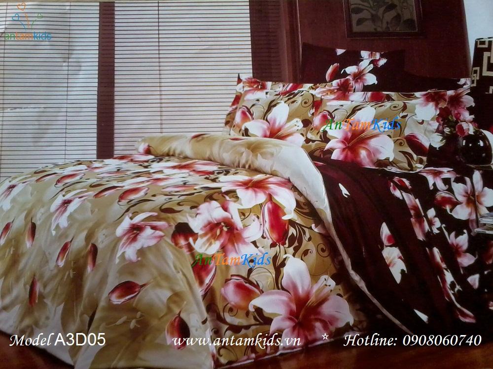 Chăn ga gối 3D Hoa ly hồng nền xanh & nâu lãng mạn phong cách Hàn Quốc đầy Đam Mê chỉ có tại AnTamKids