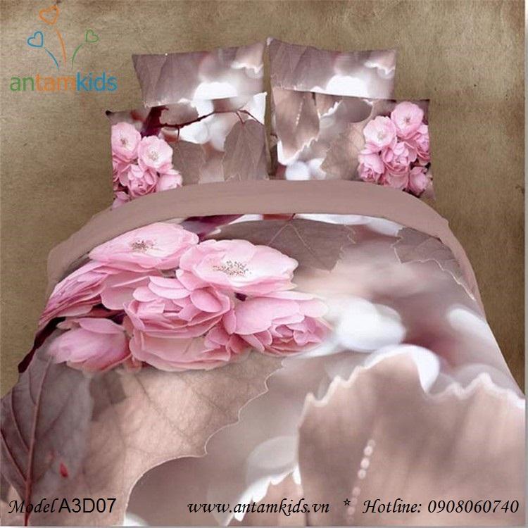 Chăn ga gối 3D Hoa anh đào sắc hồng đẹp mê mẩn
