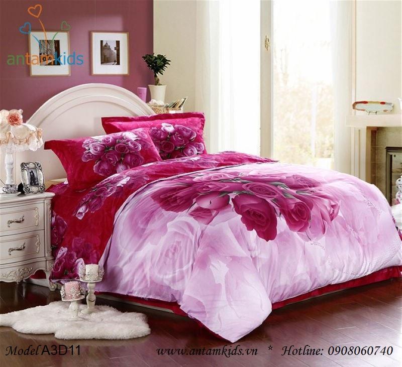 Chăn ga gối 3D Hoa Hồng tím hồng lãng mạn đam mê tuyệt đẹp - AnTamKids