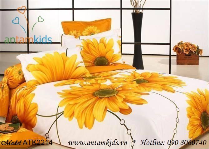 Bộ Chăn drap gối 3D Hoa hướng dương ATK2214 siêu đẹp rạng rỡ nắng vàng, ấm áp cho phòng ngủ của bạn & gia đình