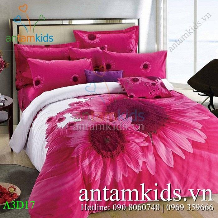 Chăn ga gối Hoa Hướng Dương nắng hồng quyến rũ A3D17 - Men drap goi AnTamKids.vn