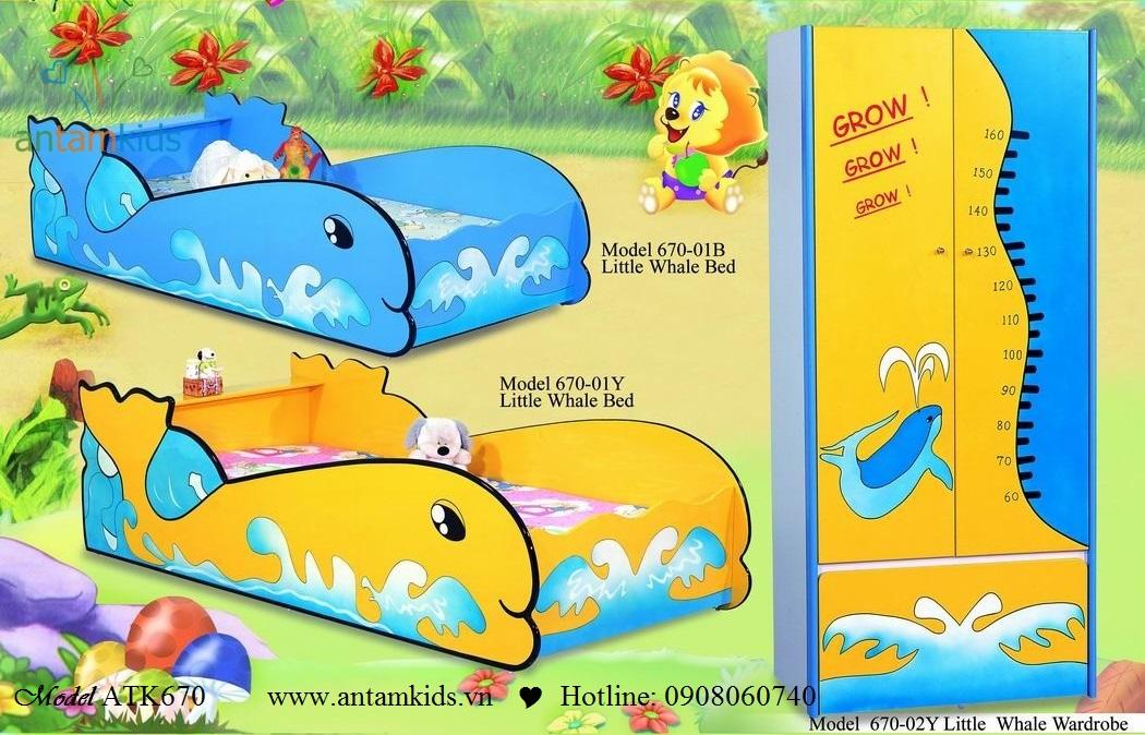 Giường ngủ cá heo xanh duong, vang xinh ATK670P cho bé   AnTamkids.vn