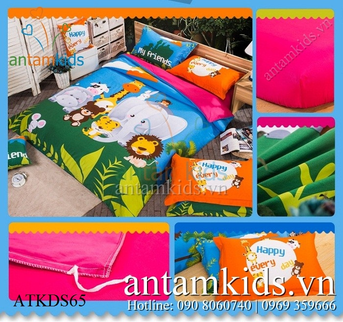 Chăn mền drap Vườn thú yêu thương ZooZoo ATKDS65 - AnTamKids.vn