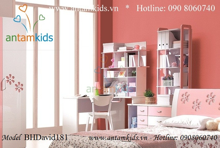 Bàn học cho bé gái BHDavid181 màu hồng