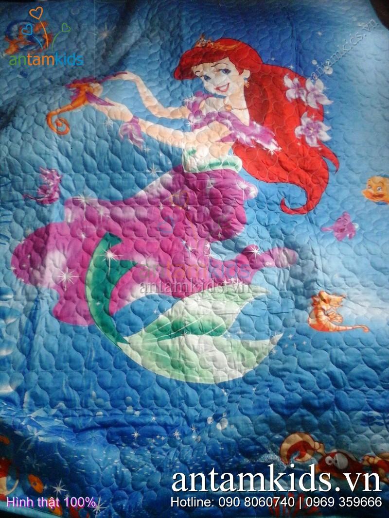 Bộ chăn ga gối mền drap Nàng tiên cá Xanh cho be gai - AntamKids.vn