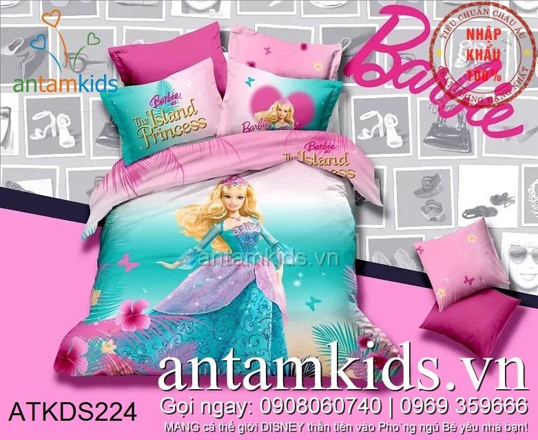 Chăn ga gối trẻ em Búp bê Barbie Princess xanh hồng siêu đáng yêu