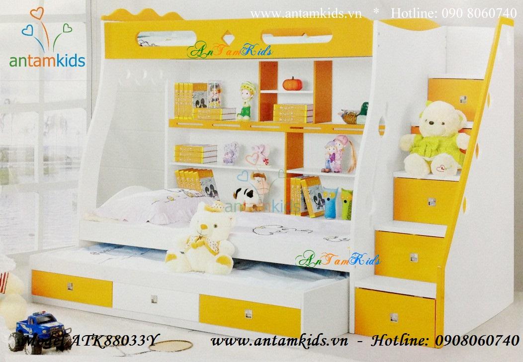 Giường ngủ 3 tầng ATK88033Y màu vàng cho bé đẹp tuyệt - AnTamKids.vn