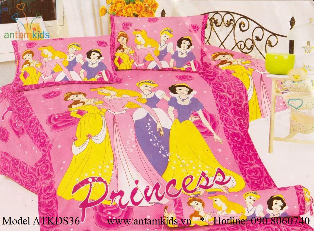 Bộ chăn ga gối cho bé hình 4 nàng Công chúa Princess xinh đẹp màu xanh dịu mát  thật đáng yêu, các bé gái mê tít !