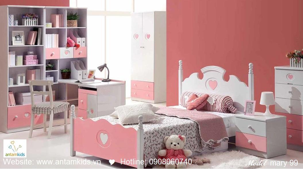 Phòng ngủ cho bé Mary 99 đẹp thiên thần, màu hồng cho bé gái  PHONG TRE EM ANTAMKIDS