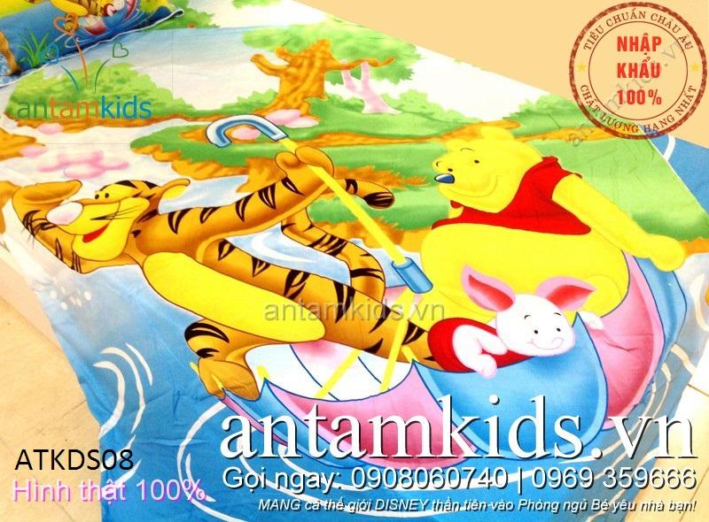 Chăn ga gối cho bé trai bé gái hình gấu Pooh & Friends xanh dương cực dễ thương