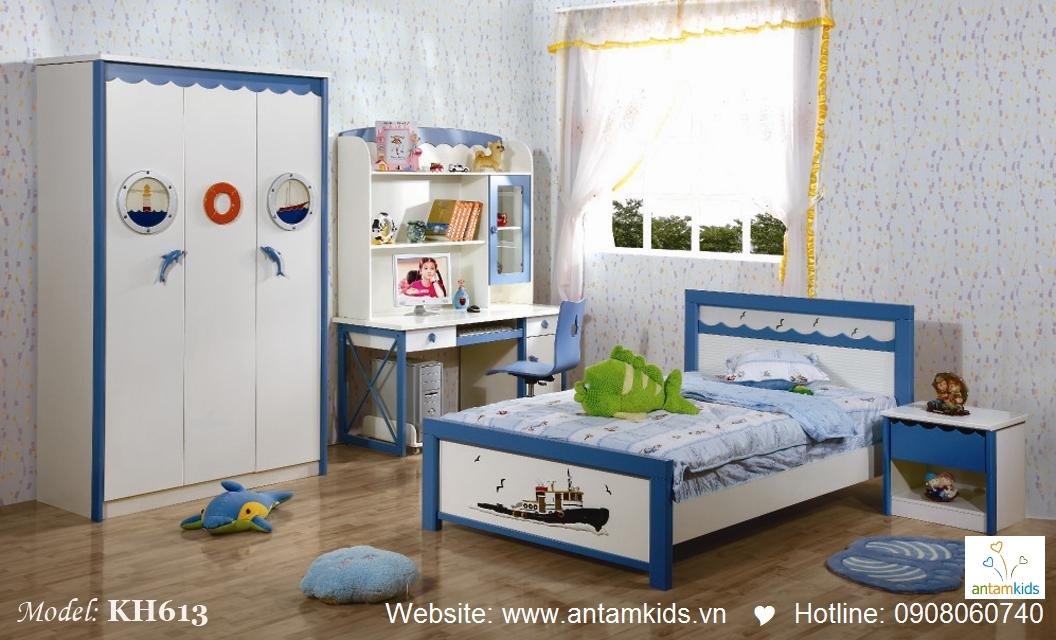 Tủ áo trẻ em 3 cánh KH616 màu xanh rất xinh xắn đáng yêu phù hợp cho bé trai - Noi that tre em AnTamKids