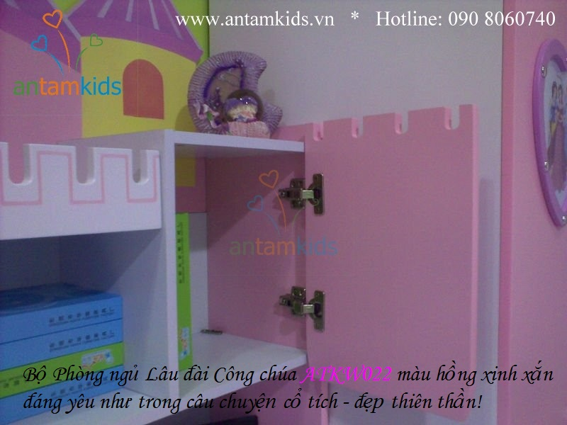 Phòng ngủ Lâu đài Công chúa ATKW022 màu hồng xinh xắn đáng yêu như trong câu chuyện cổ tích, đẹp thiên thần, antamkids.vn