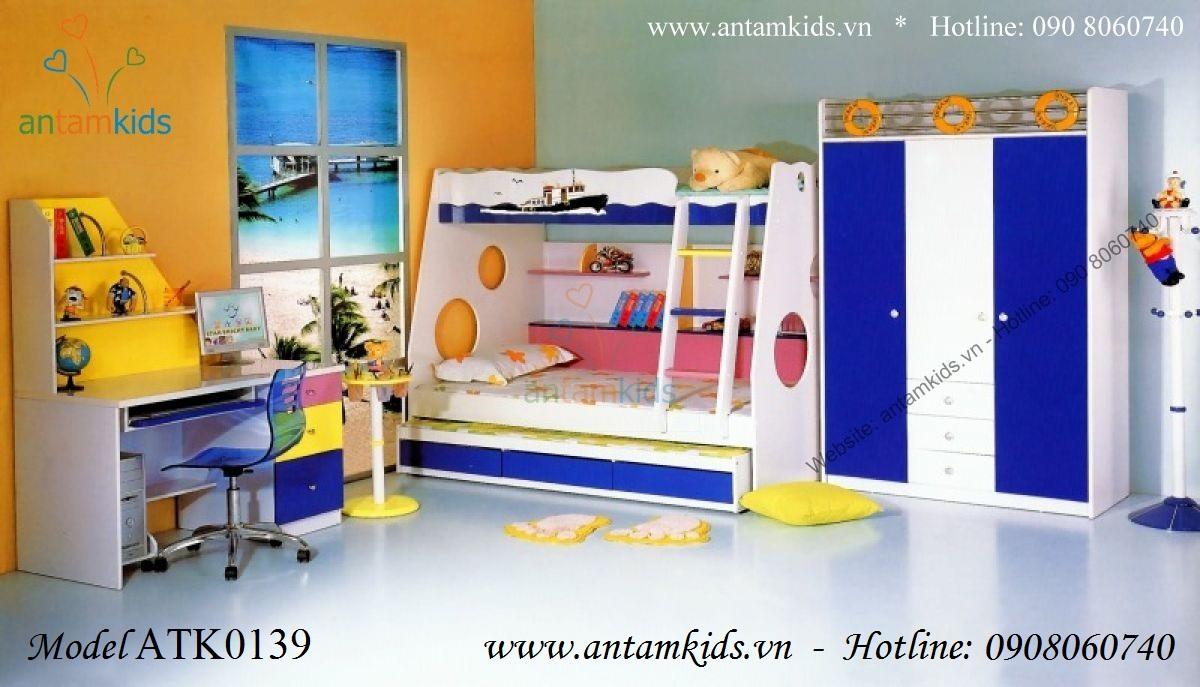 Giường ba tầng tàu thủy ATK0139 rất cá tính đáng yêu!