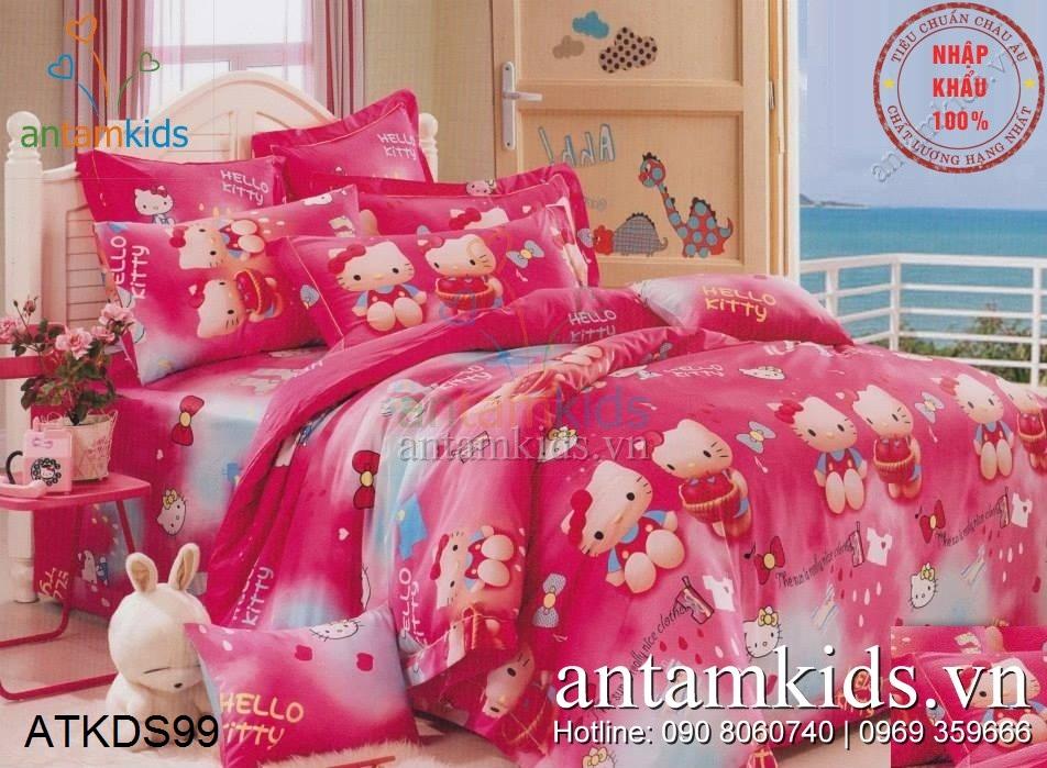 Chăn ga gối Hello Kitty sắc hồng baby siêu dễ thương dành cho bé yêu