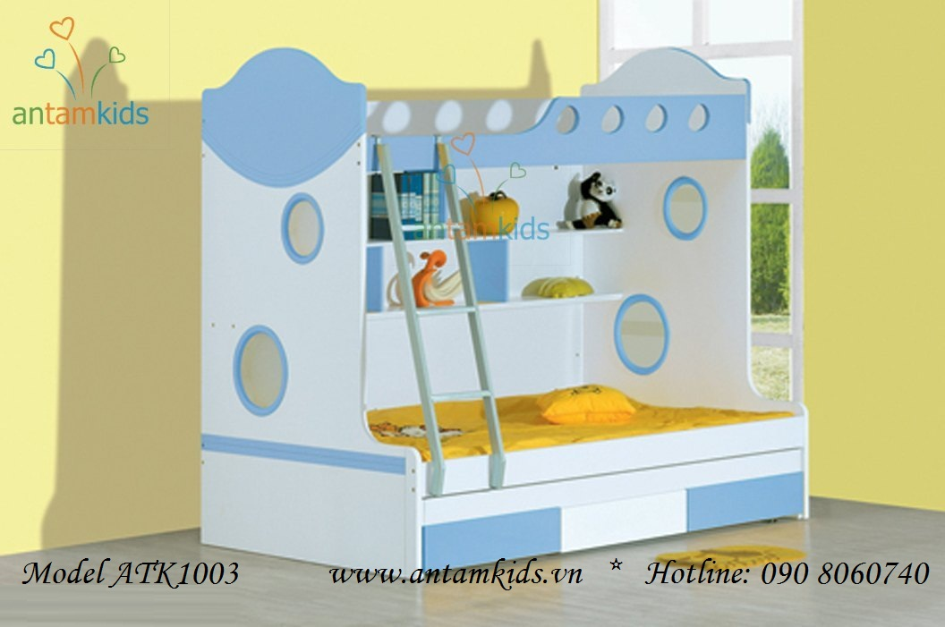 Giường 3 tầng gỗ trẻ em ATK1003, giuong 3 tang go cho be yeu cua ban rất xinh xắn đáng yêu