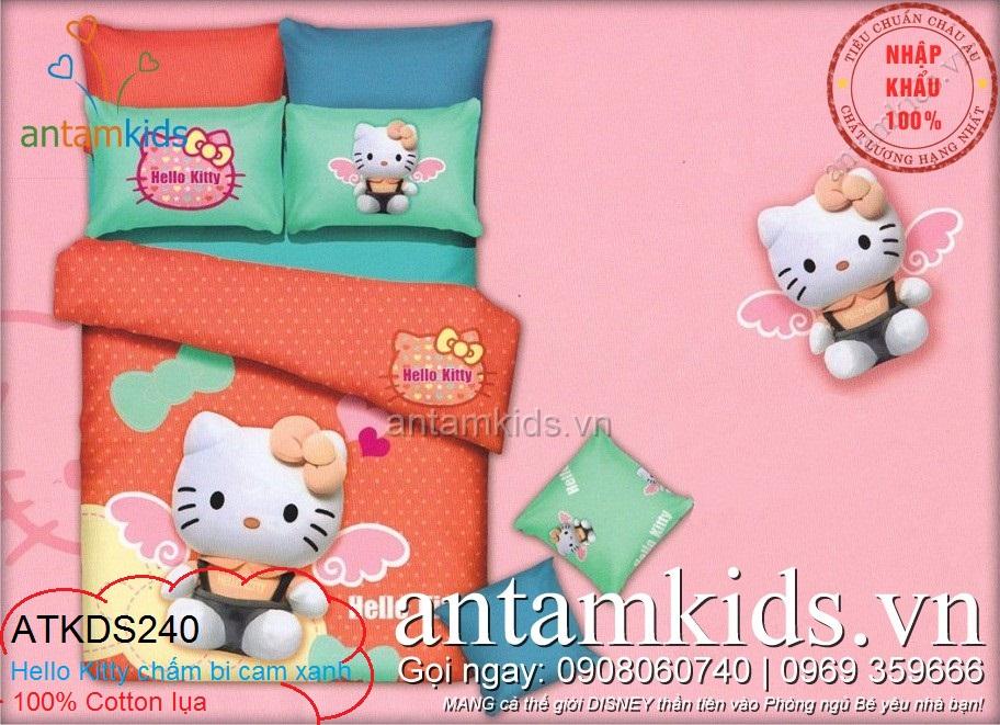 Chăn ga gối Hello Kitty, bộ mền drap trải giường cực yêu cho bé gái