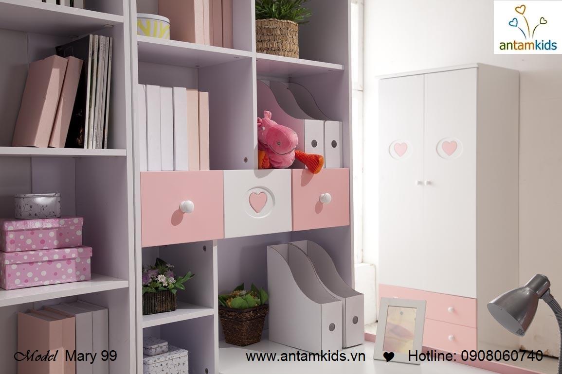 Bàn học cho bé Mary 99, màu hồng cho bé gái - AnTamKids.vn