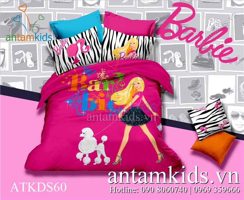 Bộ chăn drap Công chúa Barbie hồng sành điệu cho bé gái ATKDS60 - a